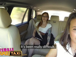Female Fake Taxi Horny lesbians lick shaved pussy in taxi