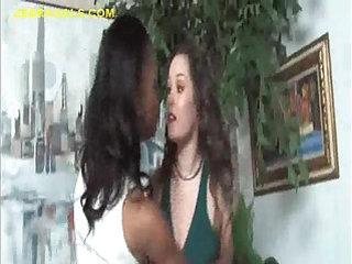 Black horny Girl Roughs Up White