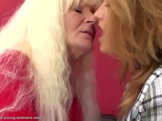 Old lesbian granny fucks her young sweet girl.More