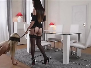 Hot asian fucks her blonde slave with strap